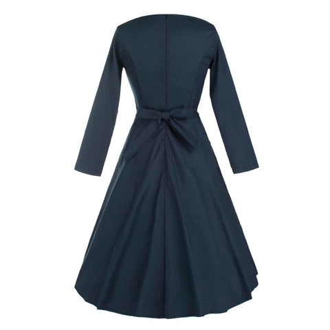 Belted Navy Blue Long Sleeve Dress