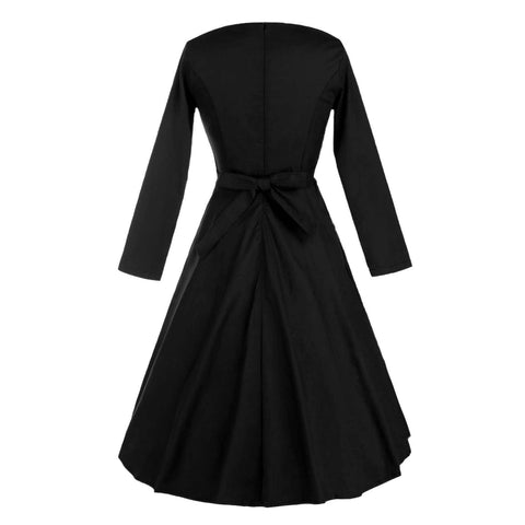 Belted Black Long Sleeve Dress