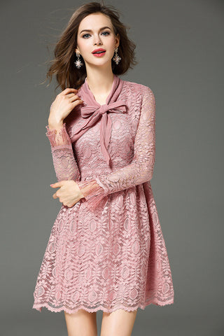 Pink Long Sleeve Lace Mini Dress