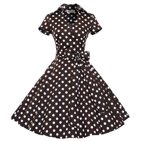 Brown Polka Dot Short Sleeve Vintage Dress