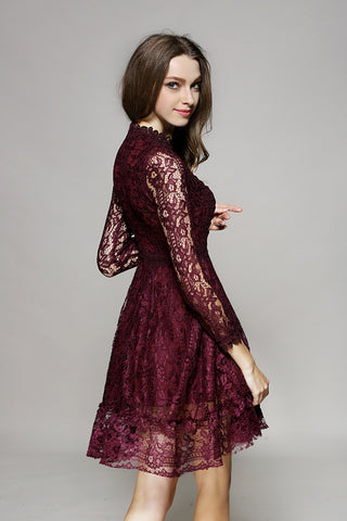 Burgundy Long Sleeve Lace Dress