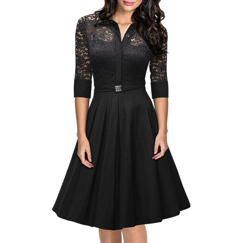 Belted Black Lapel Lace Dress