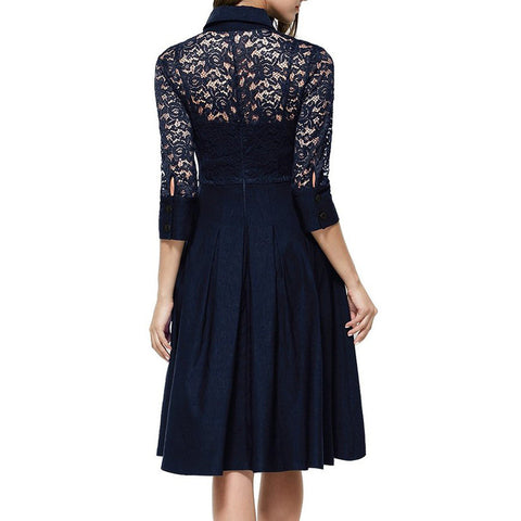 Belted Navy Blue Lace Dress