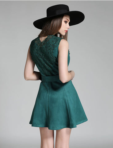 Green Belted Mini Dress