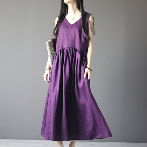 Linen Short Sleeve Dress in Purple