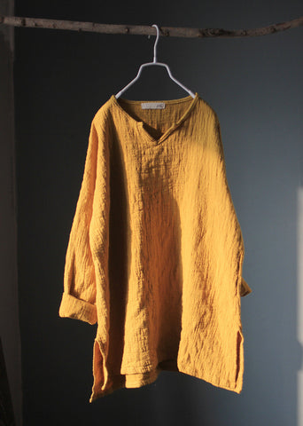 Long Sleeve Linen Top in Yellow