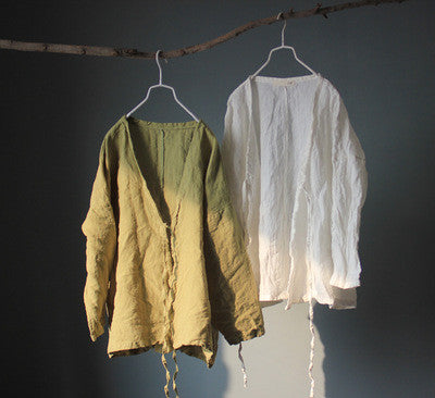 Long Sleeve Linen Top
