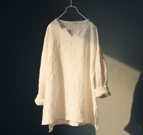 Long Sleeve Linen Top in White