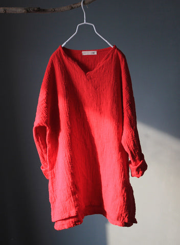 Long Sleeve Linen Top in Red
