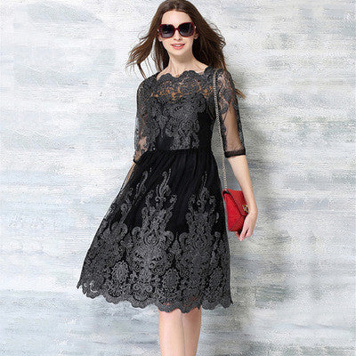 Black Embroidered Half Sleeve Lace Midi Dress