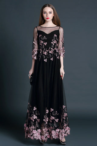 Black Embroidered  Maxi Dress