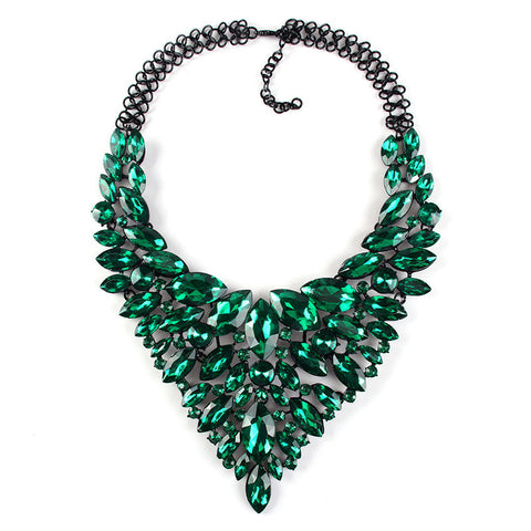 Green Statement Necklace Jewelry