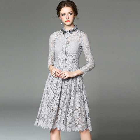 Beaded Gray Long Sleeve Lace Medi Dress