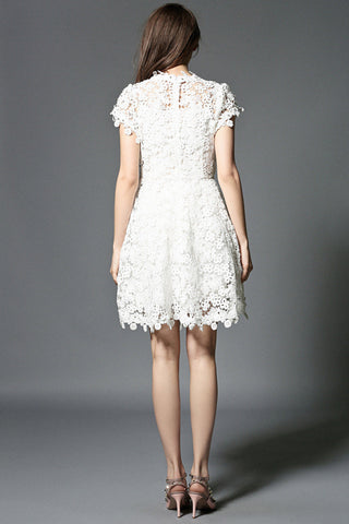Beaded White Lace Dress