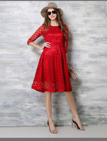 Red Crochet Lace Midi Dress