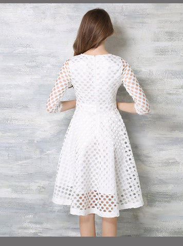 White Crochet Lace Midi Dress
