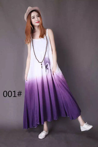 White And Purple Condole Belt Cotton Maxi Dress