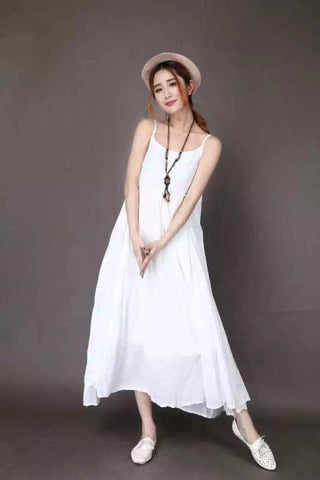 White Condole Belt Cotton Maxi Dress