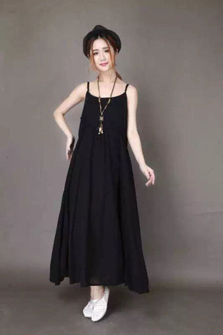 Black Condole Belt Cotton Maxi Dress