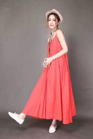 Red Condole Belt Cotton Maxi Dress