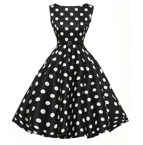Belted Black Polka Dot Vintage Dress