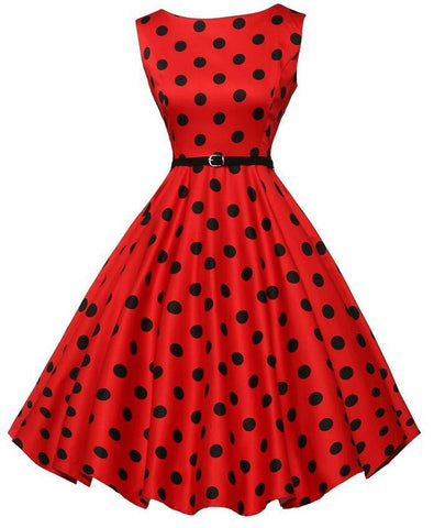 Belted Red Polka Dot Vintage Dress