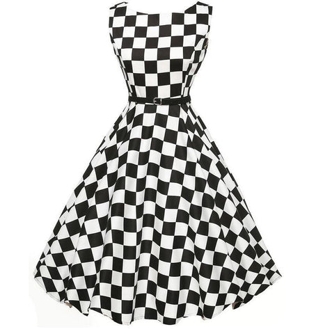 Belted Black and White Vintage Dress