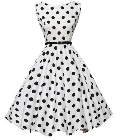 Belted White Polka Dot Vintage Dress