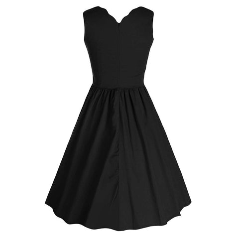 Black  Sleeveless V-neck Dress