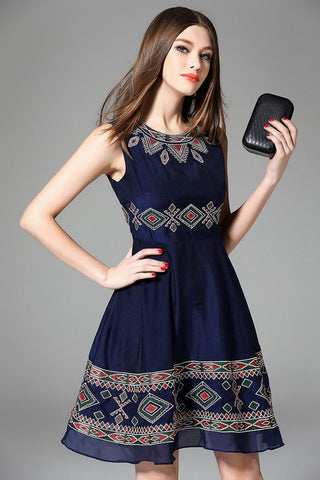 Blue Embroided Lace Dress