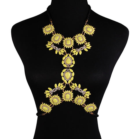 Yellow Statement Body Chain Jewelry