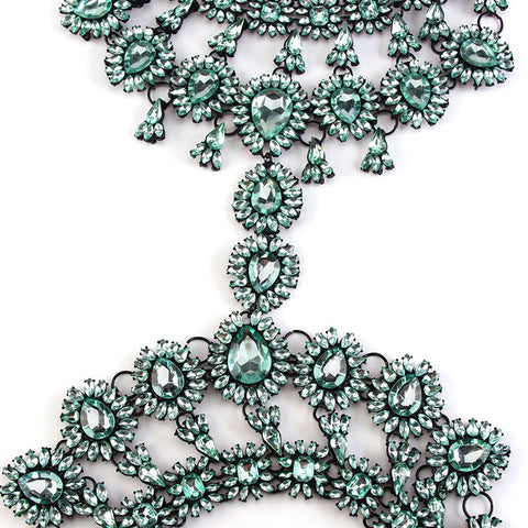 Green Statement Body Chain Jewelry
