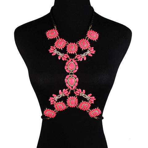 Pink Statement Body Chain Jewelry