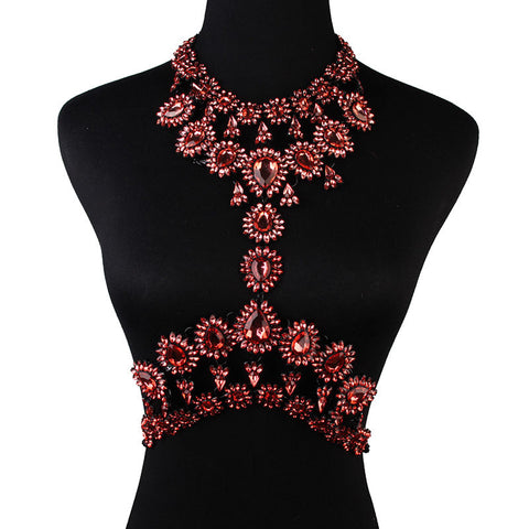 Red Statement Body Chain Jewelry