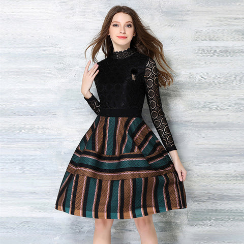Brown Lace Stripe Midi Dress