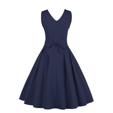 Navy Blue V-neck Maxi Vintage Dress