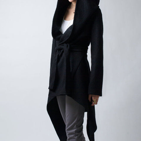 Black Irregular Cloth Hooded Jacket