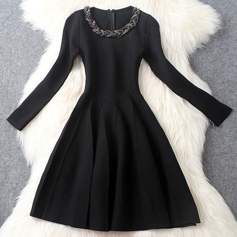 Black Drill Collar Order Midi Dress