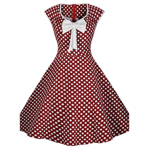 Burgandy Polka Dot Vintage Dress