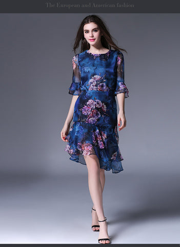 Blue Asymetric Floral Dress