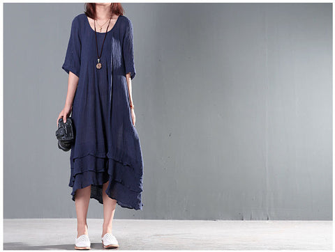 Navy Blue Cotton And Linen High Low Dress