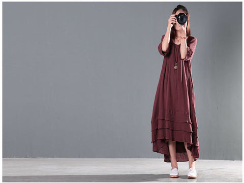 Wine Red Cotton And Linen High Low Dress
