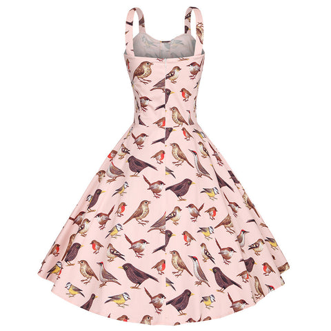 Pink Bird Print Halter Vintage Dress