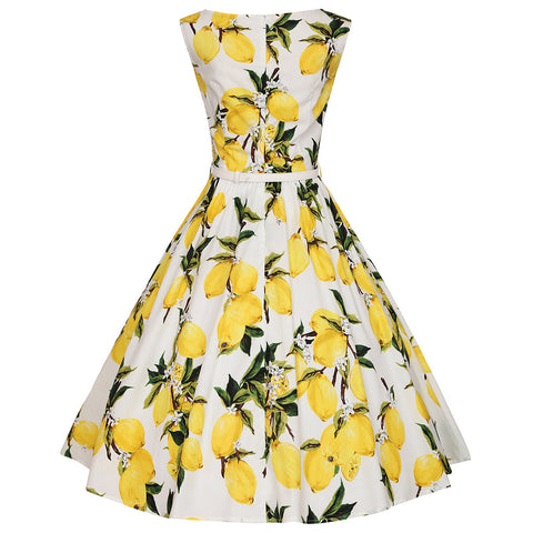 White Lemon Print Vintage Dress