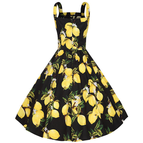 Black Lemon Print Halter Vintage Dress