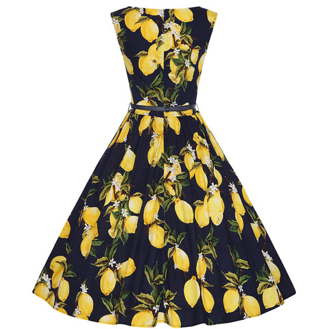 Black Lemon Print Vintage Dress