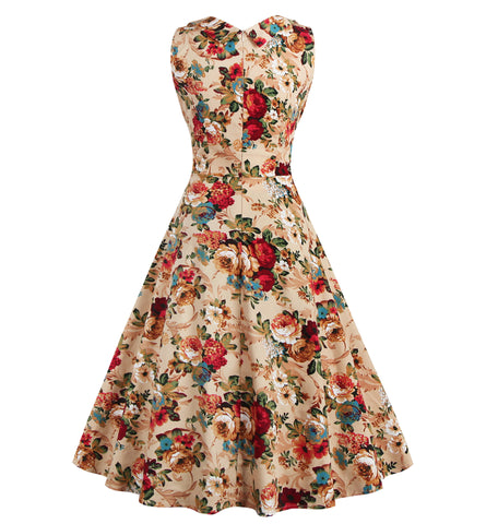 Khaki V-neck Floral Vintage Dress