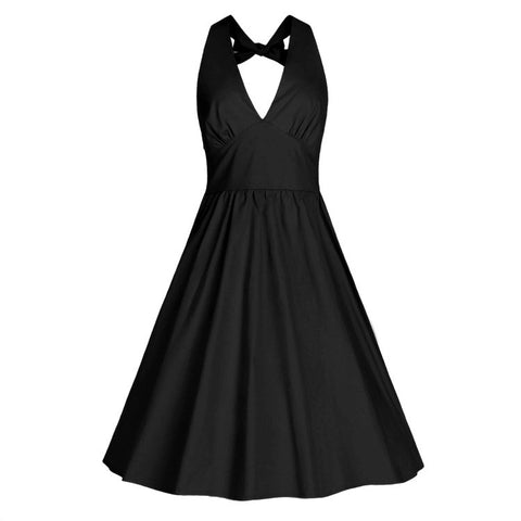Black V-neck Halter Dress