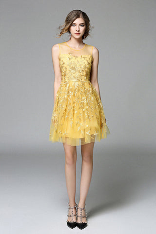 Yellow Embroided Lace Dress