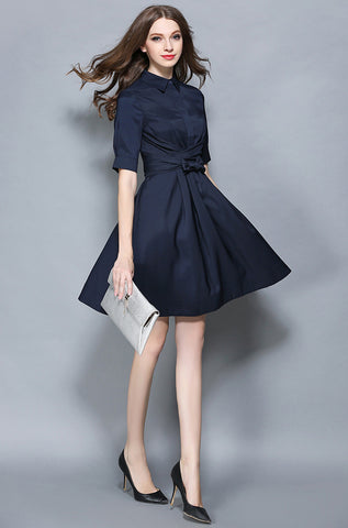 Belted Button-up Navy Blue Dress